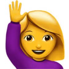 rubia de lila saludando